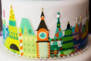 Small World cake details! rootweddings