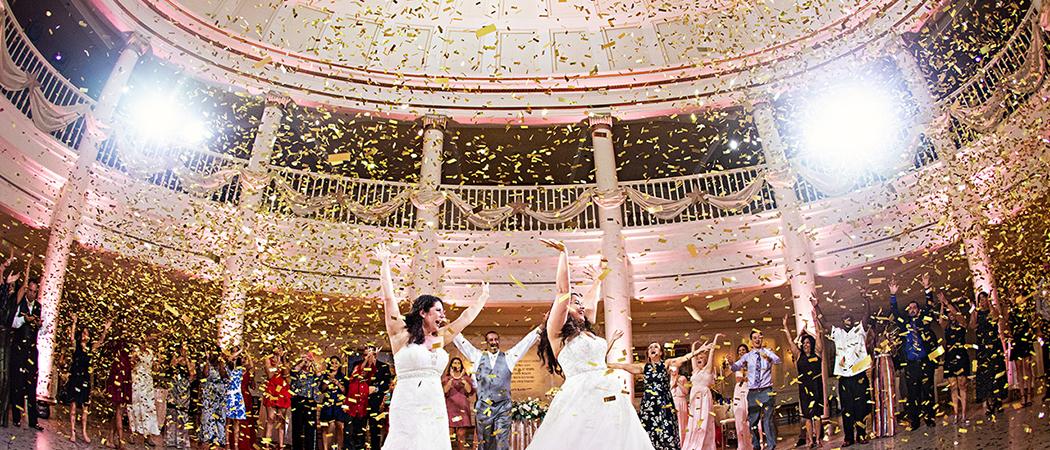Alexis + Miranda : Light Pink and Gold Princess Rainy Wedding at the Grand and American Adventure Rotunda