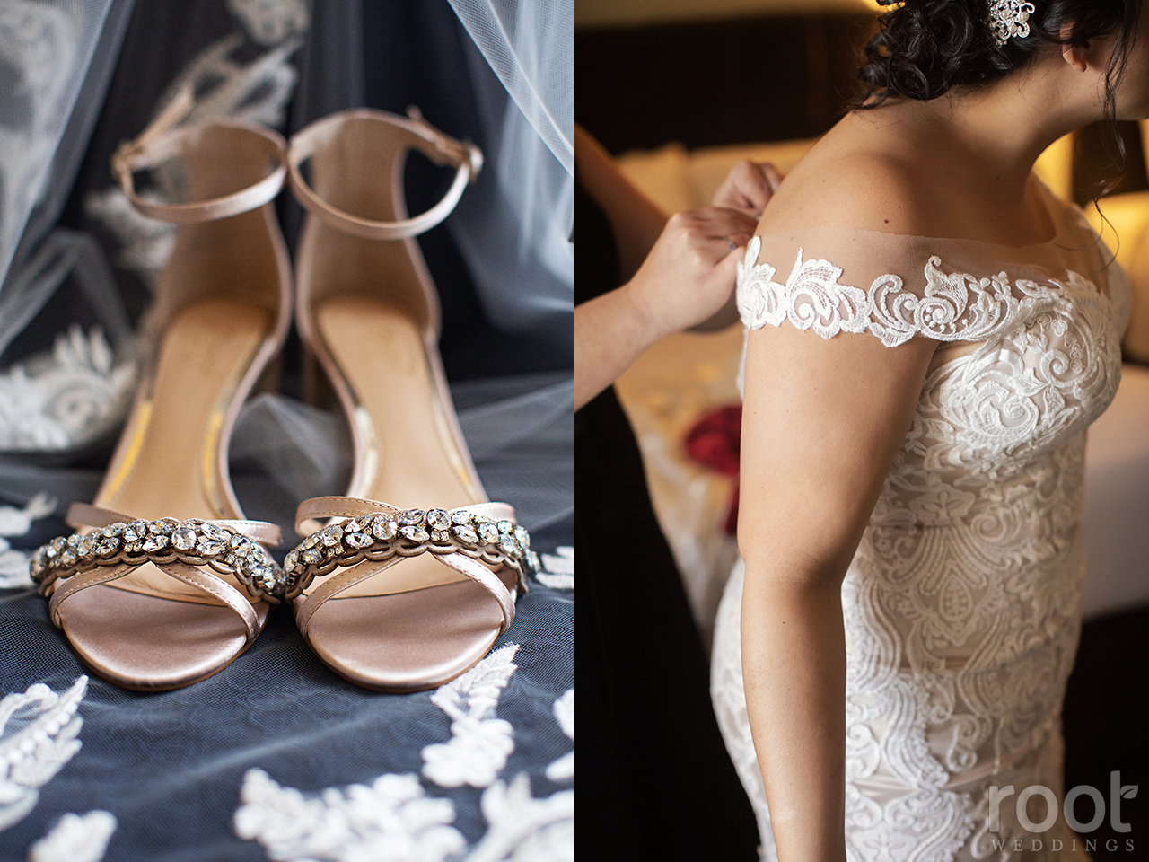 Beaded high heels and lace wedding dress sleeve