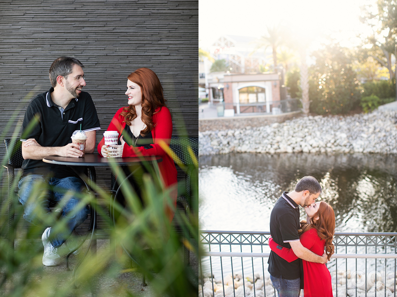Starbucks Coffee engagement session at Disney Springs in Orlando