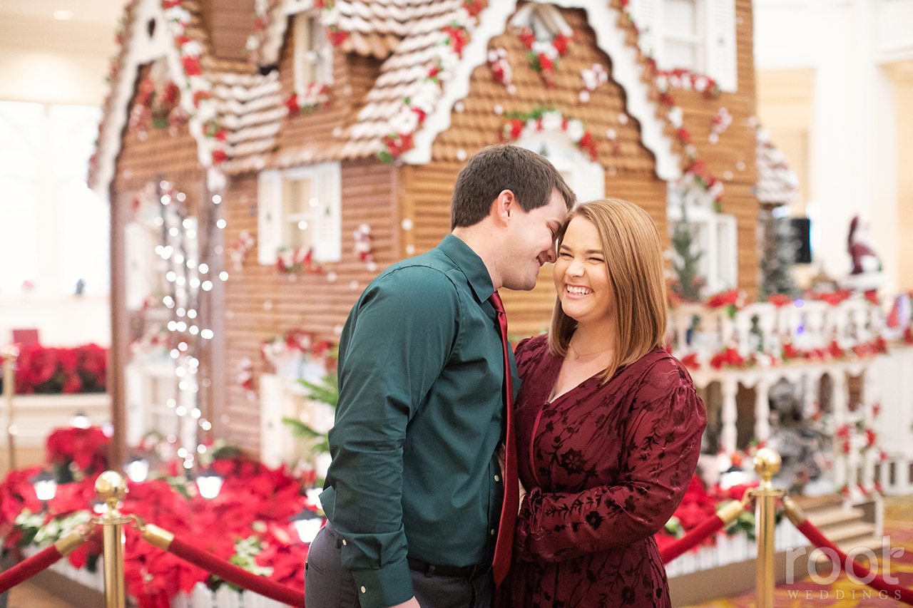 Engagement photos with the Grand Floridian's Gingerbread House