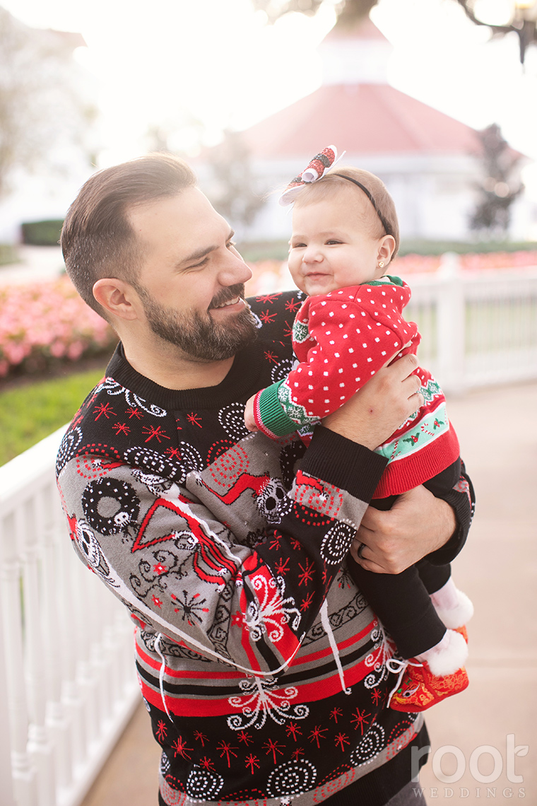 Root Lifers family in Christmas sweaters at the Grand Floridian