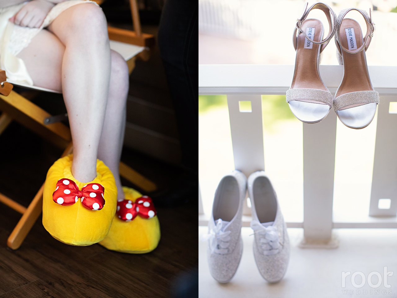 One day of bridal footwear : Minnie slippers, heels, and Kate Spade glitter Keds
