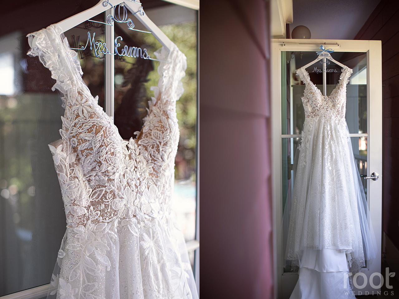 Wedding dress hanging on a Disney Boardwalk balcony