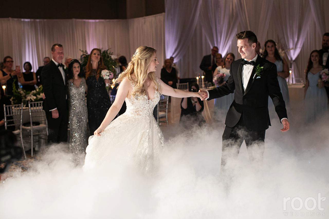 Wedding first dance with a fog machine