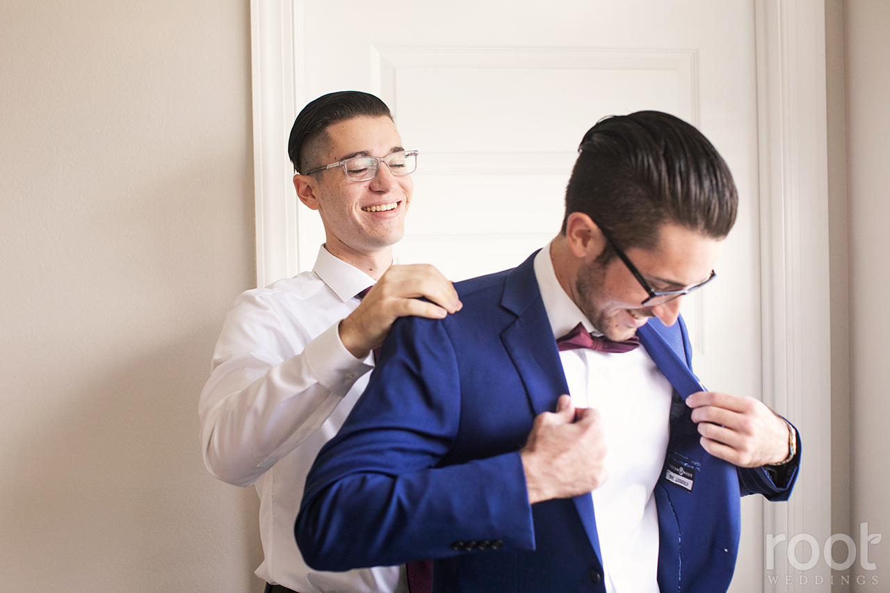 Groom getting ready at Bella Collina