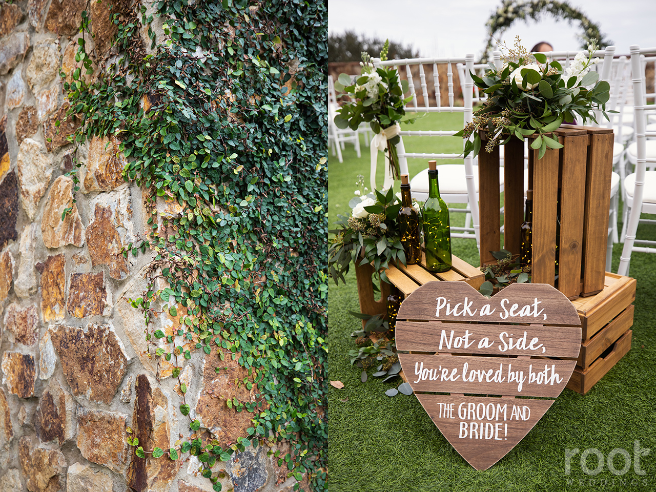 Pick a seat, not a side wedding ceremony sign