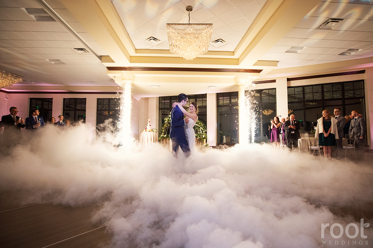 First dance with sparklers and a cloud machine