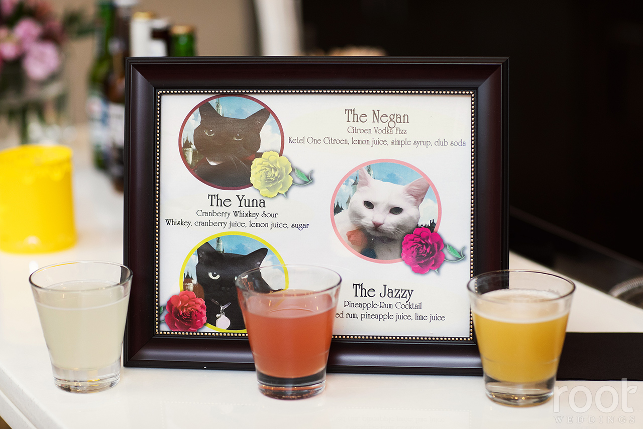 Custom drinks at a Disney wedding reception
