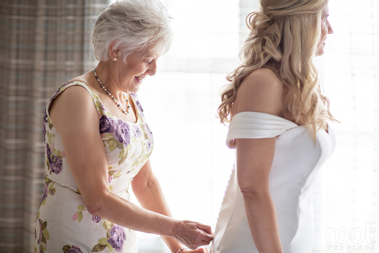 Mother daughter on her wedding day