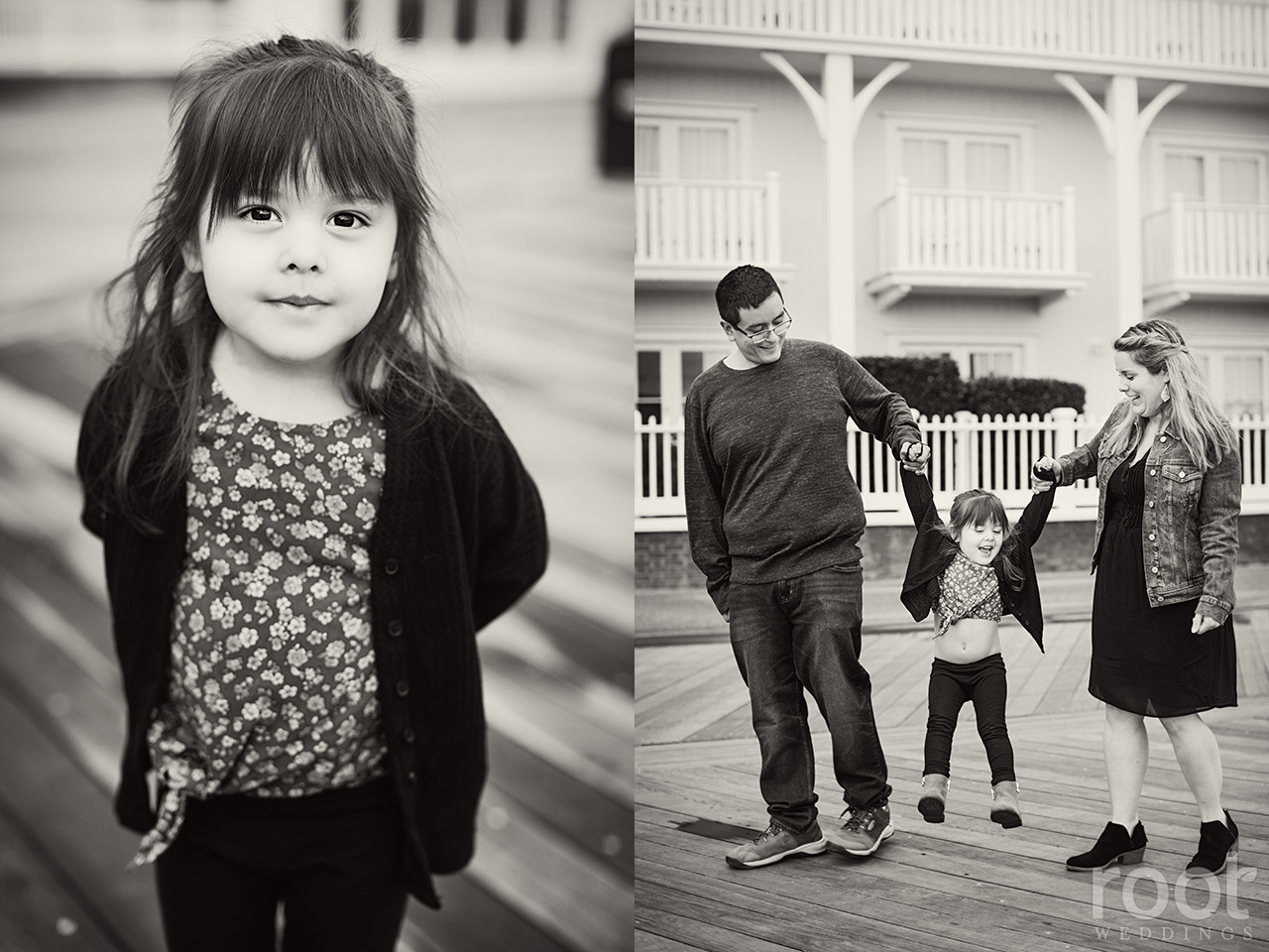Black and white family photos at Walt Disney World