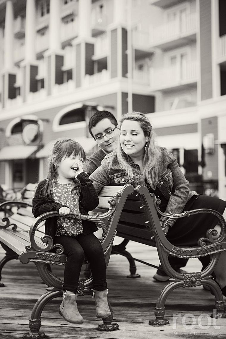 Black and white family photos at Walt Disney World