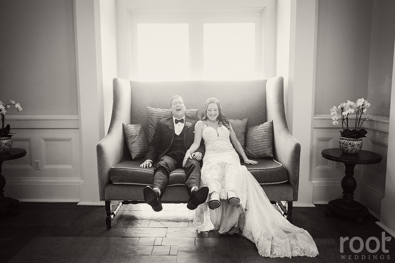 Boardwalk big sofa wedding photo