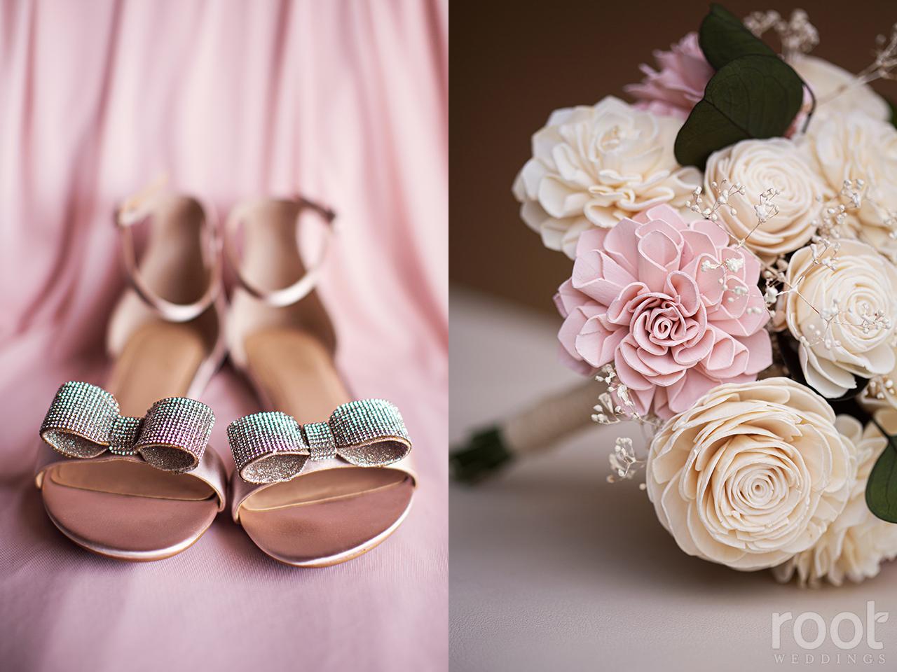 Blush pink bridesmaid dress and silver bow shoes