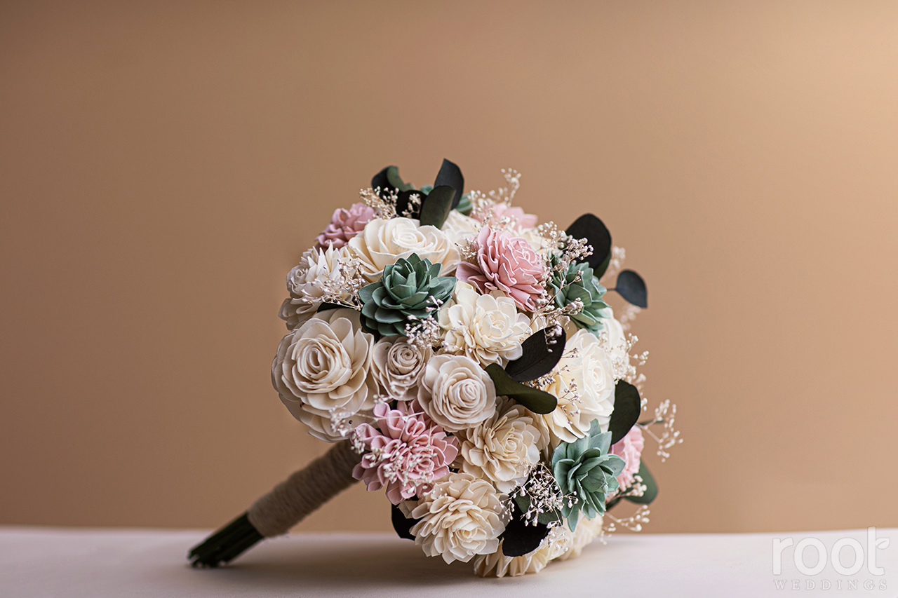 Custom wooden flower bride bouquet