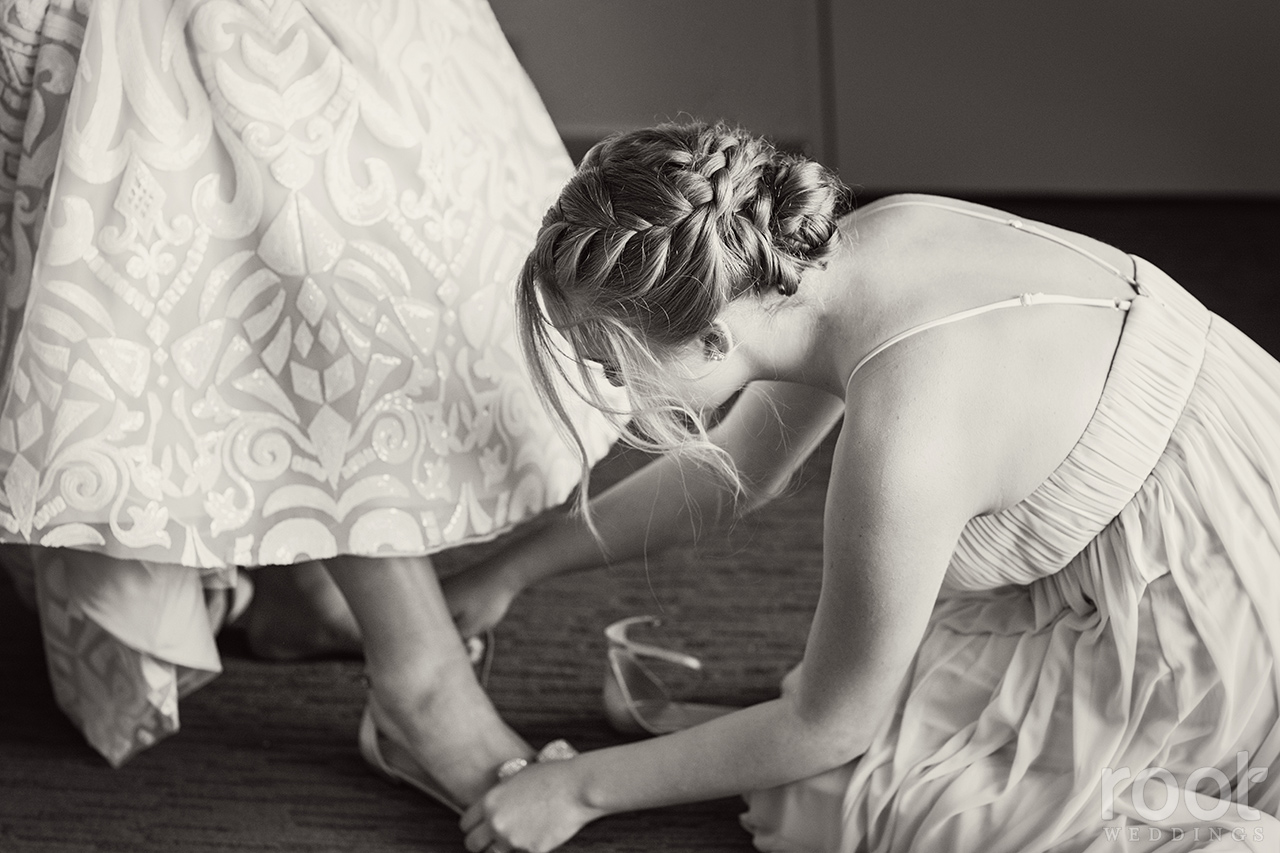 A bride gets dressed at the Grand Floridian
