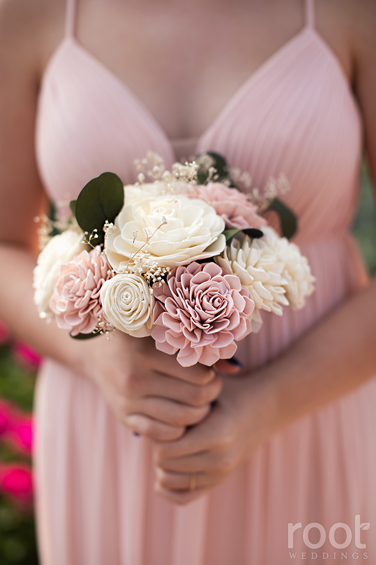 Blush and cream unique bridal bouquet out of wood