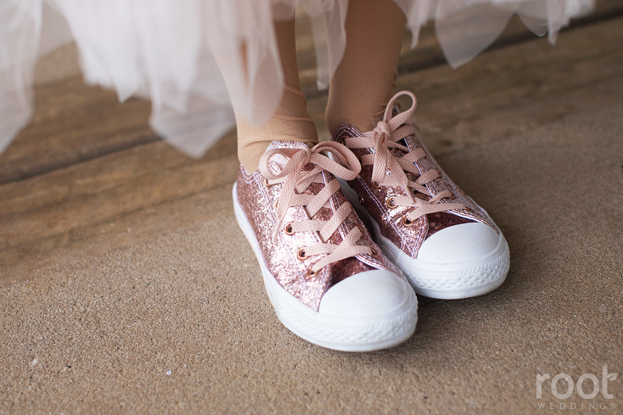 Pink sequined flower girl Chucks