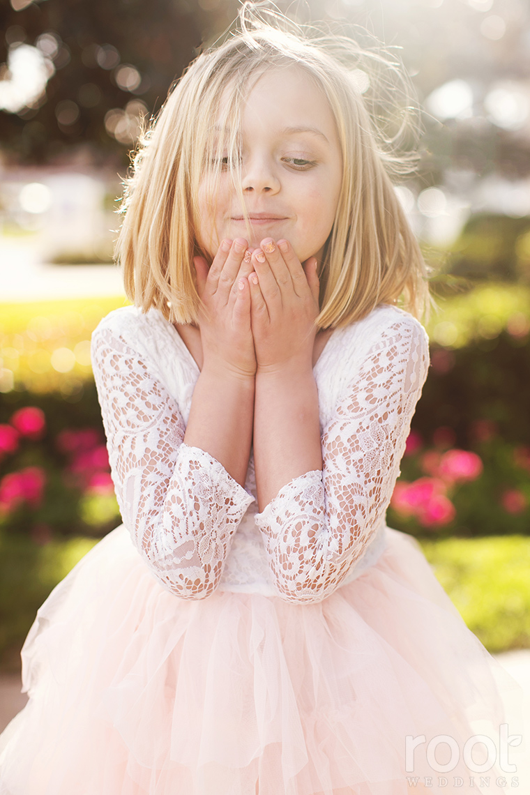 Cute flower girl at a Disney wedding