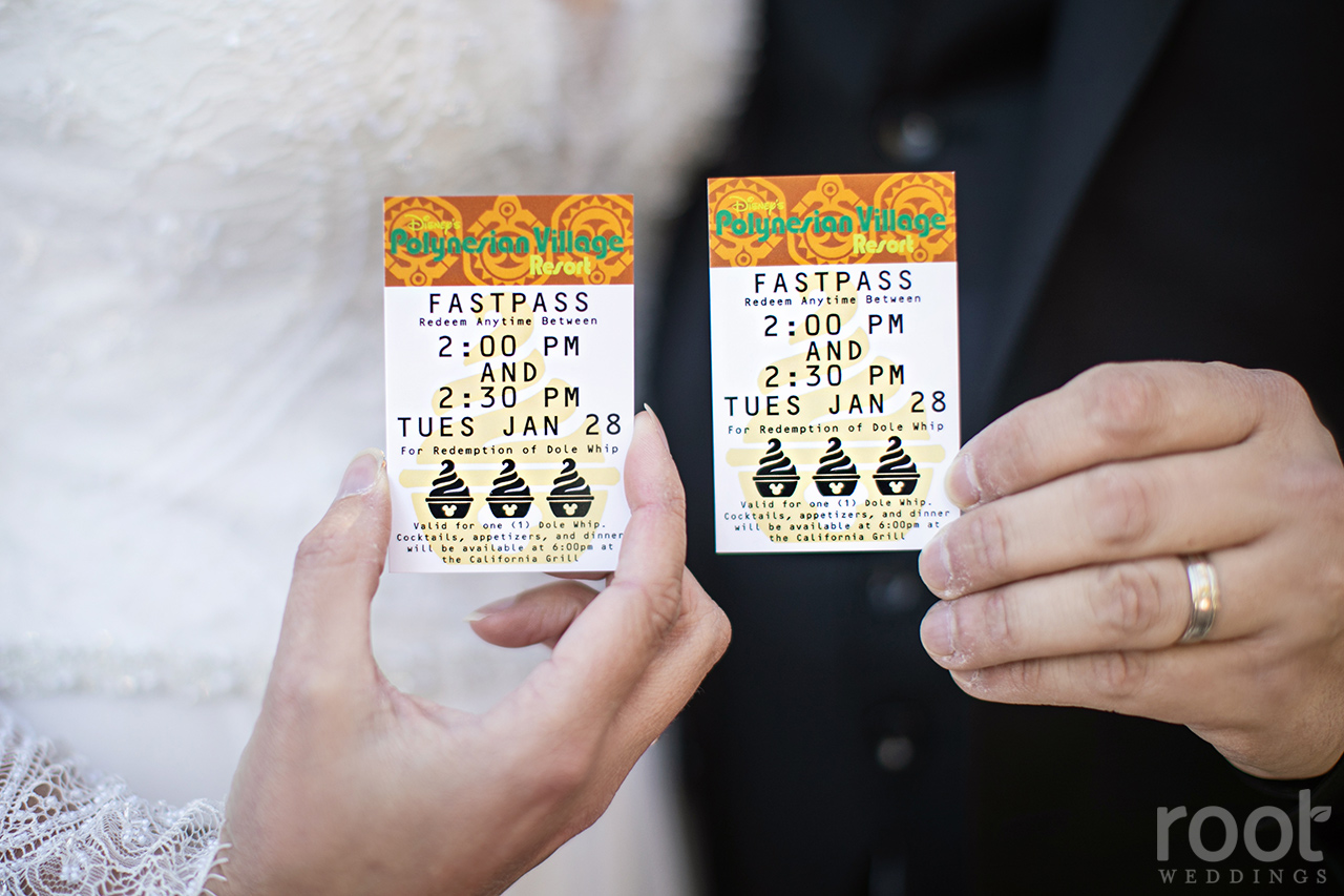 Fastpasses for wedding complimentary Dole Whips