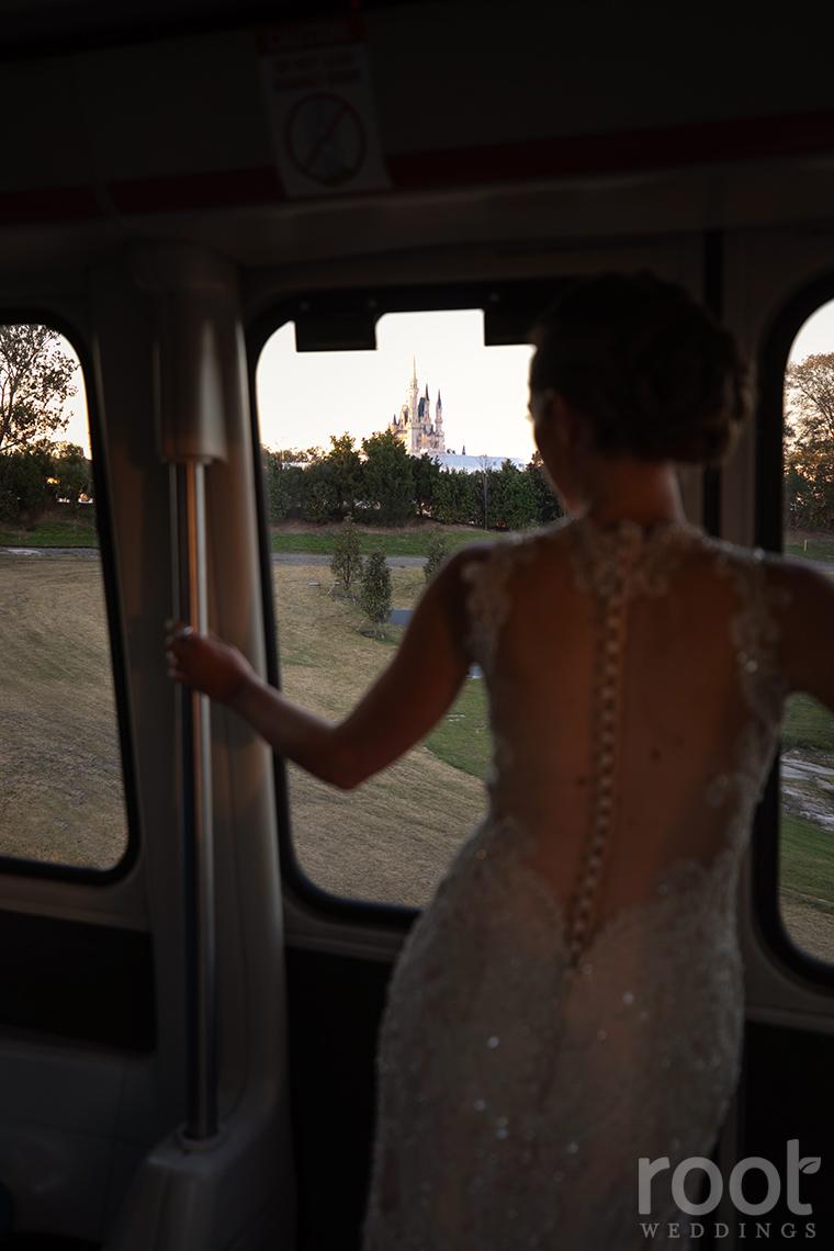 Disney Monorail wedding photos