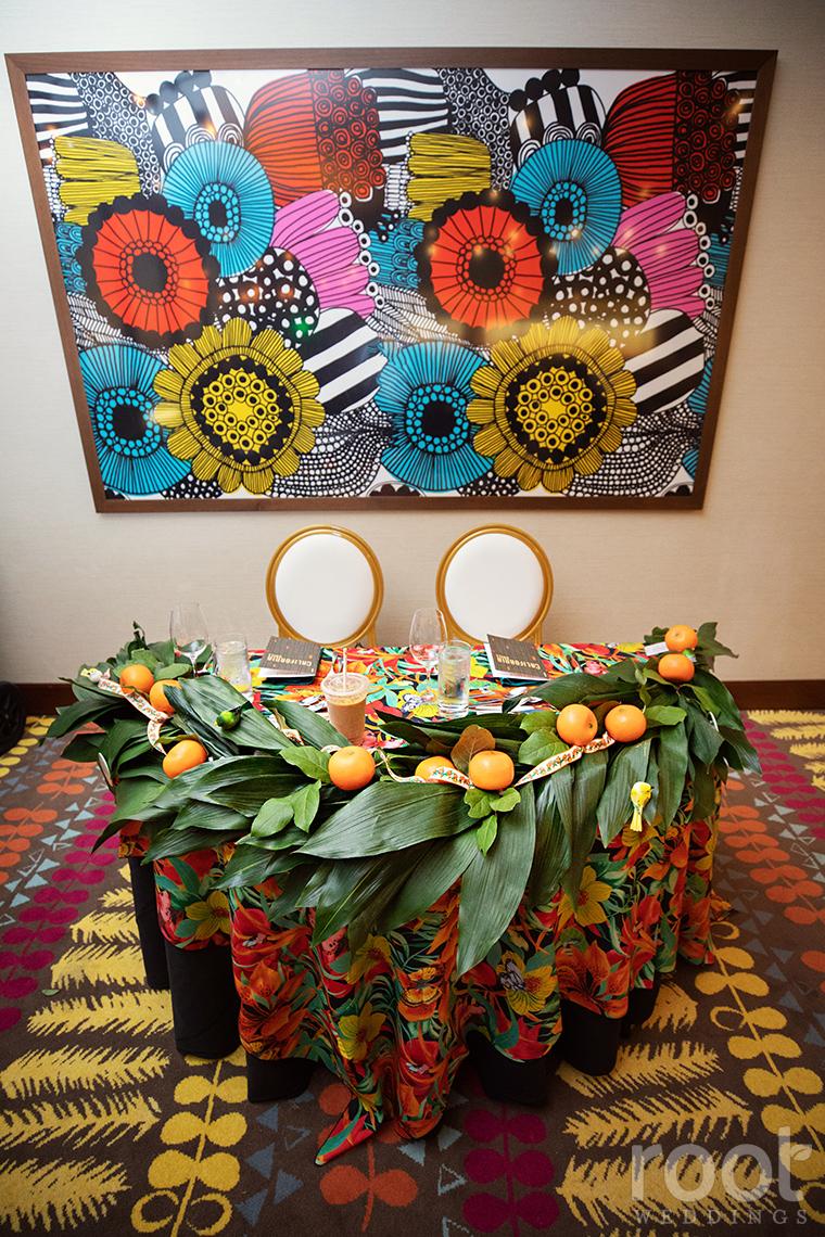 Disney Orange Bird wedding decor