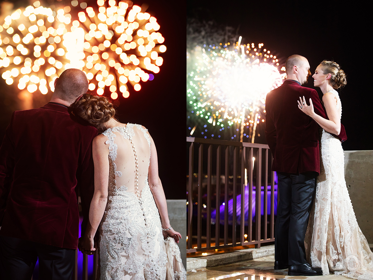 Bride and groom with Disney fireworks
